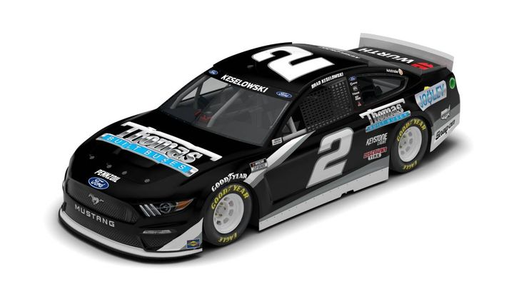Thomas Built Buses is sponsoringBrad Keselowski with the No. 2 Thomas Built Buses Ford Mustang for the NASCAR Cup Series race on May 23. The company will celebrate school bus electrification by using the Thomas Built Buses' blue electric logo. - Photo courtesyDaimler Trucks North America