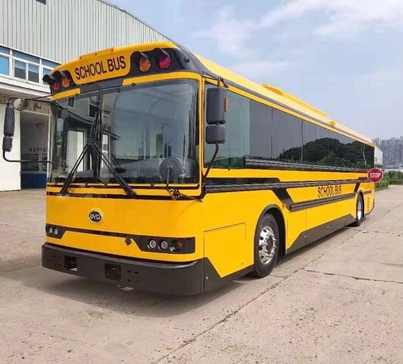 Available in 35-, 38-, and 40-foot models, BYD's Type D electric school bus can seat up to 84 passengers and can be equipped with a wheelchair lift. - Photo courtesy BYD