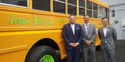 New York City-basedLogan Bus Co.'s Type C electric bus is part of a larger bus repowering project that includes Amply Power and Unique Electric Solutions (UES). Shown here from left:Corey Muirhead, executive vice president ofLogan Bus Co.;Joe Ambrosio, CEO ofUES; and Vic Shao, CEO of Amply Power.