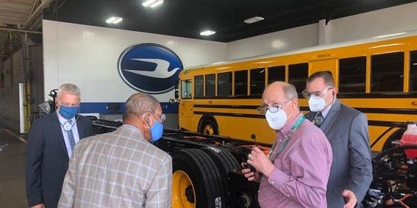 Rep. Sanford D. Bishop(second from left) visited Blue Bird Corp.'s manufacturing facility in...