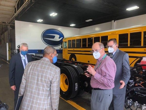 Rep. Sanford D. Bishop(second from left) visited Blue Bird Corp.'s manufacturing facility in Fort Valley, Georgia, to discuss electric school bus technology. - Photo courtesy Blue Bird
