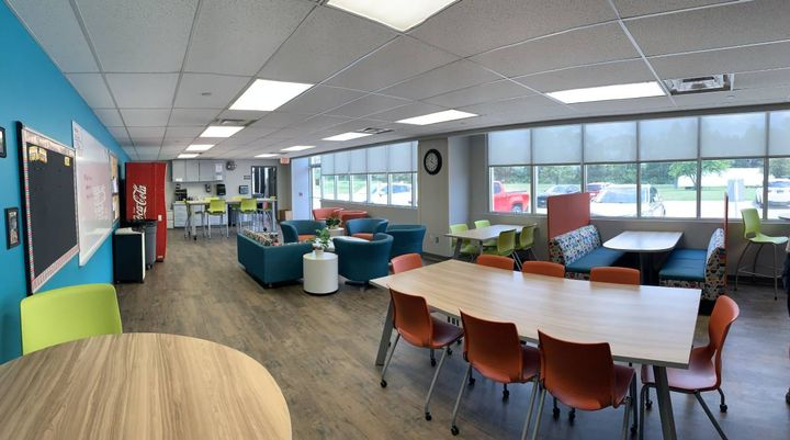 Dave Egleston, a retired bus driver for West Des Moines (Iowa) Community Schools, donated funds for the new room, noting he wanted the space to feel like a living room and not an institution. - Photo courtesyWest Des Moines Community Schools