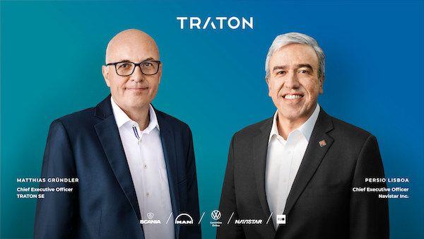 The Traton Group has closed its $3.7 billion merger with Navistar.Shown here isTraton CEO Matthias Gründler (left) and Navistar president andCEO Persio Lisboa. - Photo courtesy Navistar