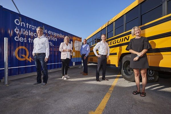 Québec-based operator Autobus Séguin is teaming up with Hydro-Québec to install 12 electric vehicle charging stations to support 10electric school buses. - Photo courtesy Hydro-Québec
