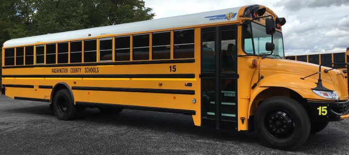 Aside from getting new propane school buses, the district also recently received the first all-electric school bus in the state. - Photo courtesyWashington County Department of Education