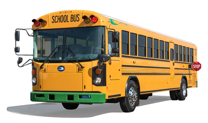 West Grand (Colo.) School District used grant funds to help purchase a Blue Bird Type D electric bus and Level 2 charging station. - Photo courtesy Blue Bird Corporation