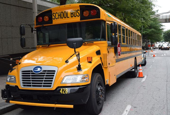 Blue Bird and Thomas Built electric school buses will be on display at the Clean Energy Roadshow in Atlanta on Oct. 5. - Photo courtesy Event Energy Partners