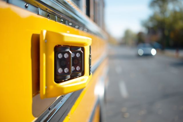 The Harnett County Schools program adds stop-arm cameras, LTE connectivity, and emergency-response technology to 300 school buses. - Photo courtesy BusPatrol