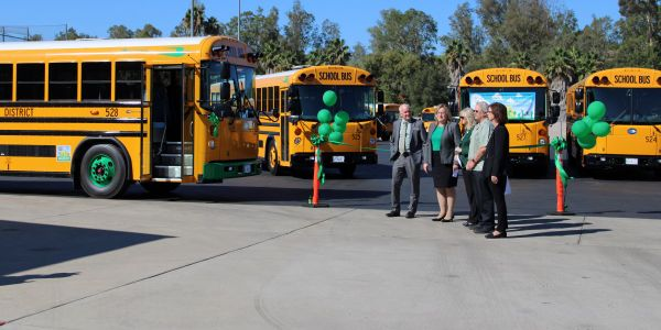 Officials from the Escondido Union High School District in California celebratethe rollout of...