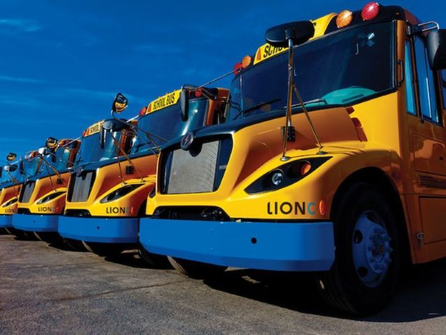 Mount Desert Island High School will celebrate the arrival of Maine's first electric school bus with a special ceremony on Oct. 12. - Photo courtesy The Lion Electric Co.