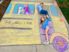 Courtney Portner and her 10-year-old twins Audrey and Sully (shown here) started creating chalk...