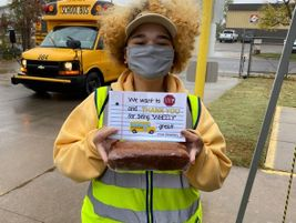 Aryana Hess, a bus monitor for First Student, which serves Wichita (Kan.) Public Schools,...