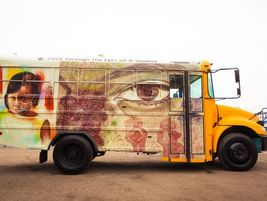 On the second bus are two powerful images from Fremont, Calif.-based Irvington High School...
