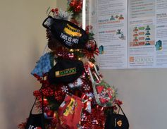 The Christmas tree in the transportation department of Greenville (S.C.) Public Schools is...