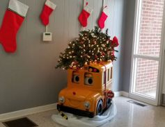 Buster the Bus provides a festive holiday greeting to those visiting the transportation office...