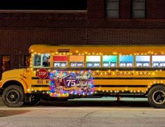 Oskaloosa (Iowa) Christian School bus entry in the Oskaloosa Parade of Lights event won first...