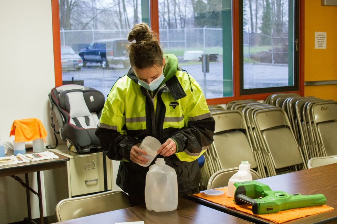 Mary Martin, one of KWRL's bus drivers, volunteered to take on the extra work of disinfecting...