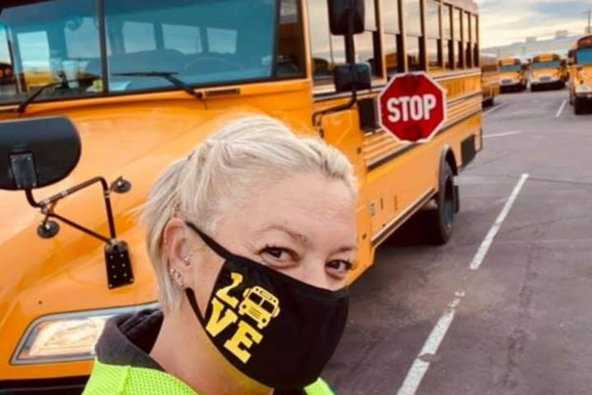 Mainstream bus driver and behind-the-wheel instructor Stacy Ashley-Parent shows off one of the...