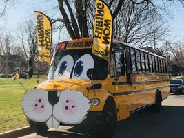 All aboard the Bunny Bus! Mel Nieuwenhuis, a substitute standby driver for Dousman Transport Co....
