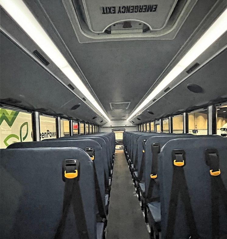 GreenPower's BEAST, a 40-foot Type D battery electric school bus,can seat up to 90 passengers....
