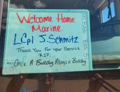 """Once a Bulldog, Always a Bulldog"" proclaims the sign saluting Lance Cpl. Schmitz, a 2019..."
