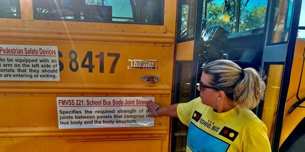Marybeth Kubinski, a bus safety specialist from Charlotte-Mecklenburg (N.C.) Schools, gave tours...