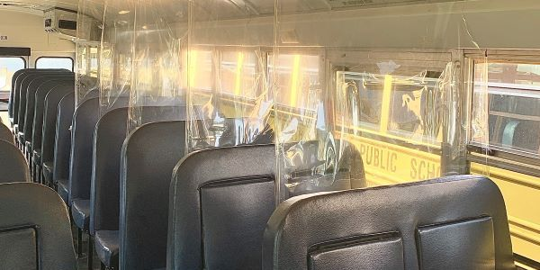 Barrier Designed to Protect Against COVID-19 on School Bus