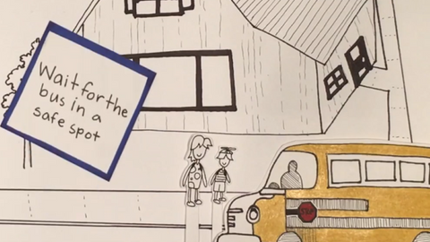In this animated video, students learn how to safely board, ride, and disembark from a school bus.