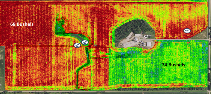 Use of sophisticated tools, such as yield maps, can show the impact of soil compaction and other factors on yield gains. - Courtesy of Michelin North America Inc.