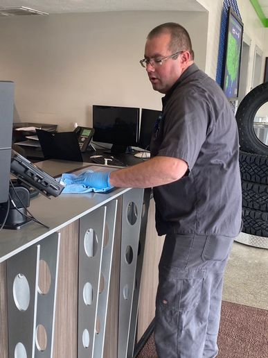 At Clair & Dee's Point S, keeping the company's experienced technicians is just as important as sanitizing customer and employee touchpoints. -