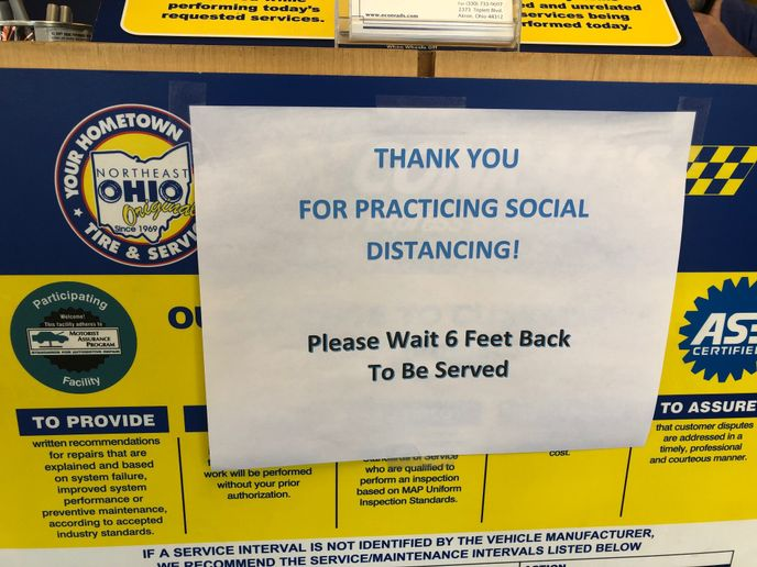 Conrad's is reminding customers to practice social distancing in its stores. -