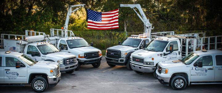 """""""The best time to make progress is during a crisis,"""" says Don Mead, CEO of Callaghan Tire Inc. (Pictured, Callaghan Tire service trucks at the dealership's Lakeland, Fla., location.) -"""