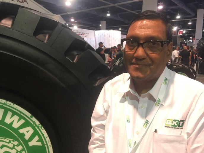 """We are blessed to have our own mold-making factory,"" says BKT's Poddar. ""We roll out 60 to 70 new products every year, in most segments of OTR tires, and will continue to do so."" -"