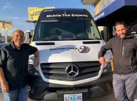 """""""I've never seen this much excitement"""" around mobile tire installation, says Joe Flores, co-owner of GoMobile Tires (left, with Sarkis Ohanian, owner of Sarkis Motors in Midway City, Calif.)"""