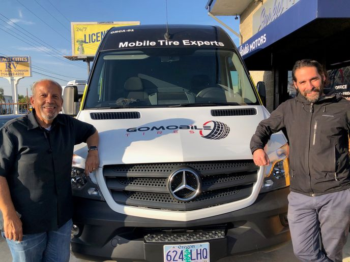 """I've never seen this much excitement"" around mobile tire installation, says Joe Flores, co-owner of GoMobile Tires (left, with Sarkis Ohanian, owner of Sarkis Motors in Midway City, Calif.) -"