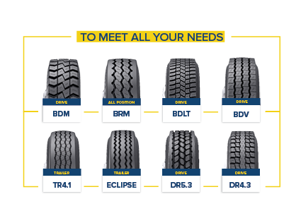 Eight products make up the new Bandag MaxTread line. -