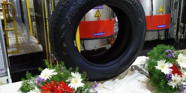 The first tire made atApollo's new plant has rolled off the assembly line.