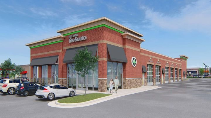 This rendering shows what will be Virginia Tire & Auto's 18th location. The Leesburg store is expected to open in the summer of 2021. - Virginia Tire & Auto