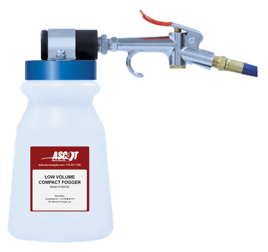 Ascot Supply's Low Volume Compact Fogger paired with its EPA-registered, fast-acting and odorless sanitizing solution is a powerful and effective all-in-one solution. -