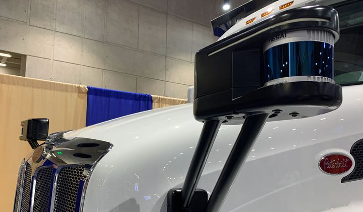 This prototype lidar pod also has lights to alert motorists and first responders whether the truck is in self-driving mode.