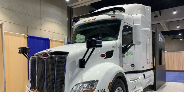 TuSimple showed off its sixth-generation self-driving truck at the American Trucking...