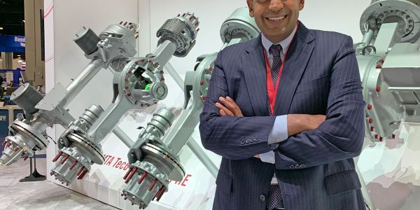 Chris Villavarayan, Meritor's senior vice president and president of Global Truck, with the new...