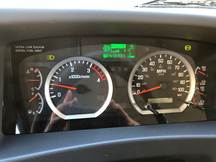 The dash and instrument cluster on the Isuzu FTR features, bright, crisply lit gauges and a driver information screen. - Photo: Jack Roberts