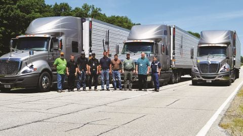 MVT Solutions staff and engineers test fuel economy devices on the Hirschbach Motor Lines fleet,...