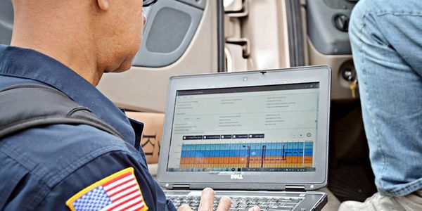 Data transfer of the driver's record of duty status to the enforcement official's ERODS program...