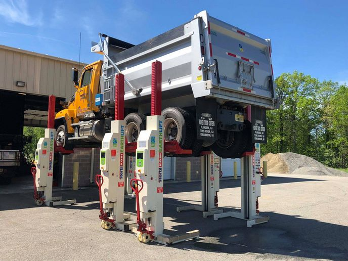 Mobile column lifts can be used anywhere there's a suitable surface and adequate overhead clearance. - Photo: Stertil-Koni
