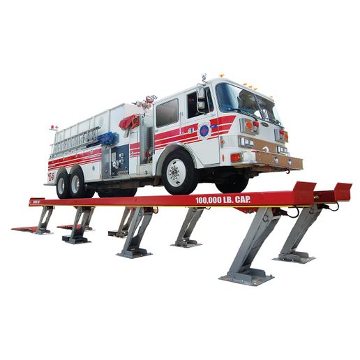 Parallelogram lifts like this one from Rotary Lift come in 4, 6 and 8 leg configurations and a variety of lift capacities.  - Photo: Rotary Lift
