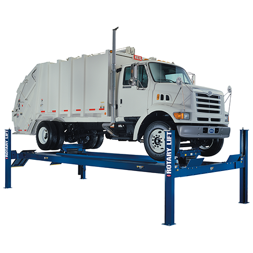 Four-post lifts can be secured to the floor and are available in ratings to suit any class of vehicle. - Photo: Rotary Lift