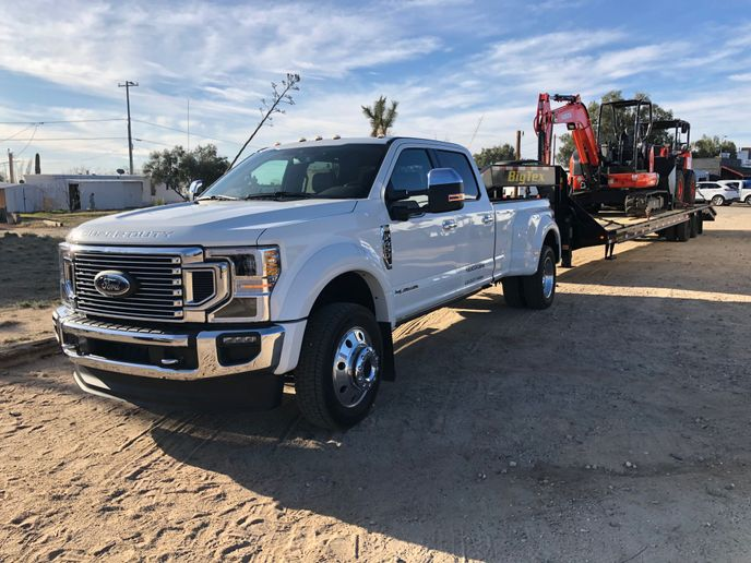 Laden with 30,000 lbs. of Kubota compact construction equipmnet, this Ford F-450 Super Duty awaits a hard day's work running up and down Granite Mountain in Arizona.  - Photo: Jack Roberts