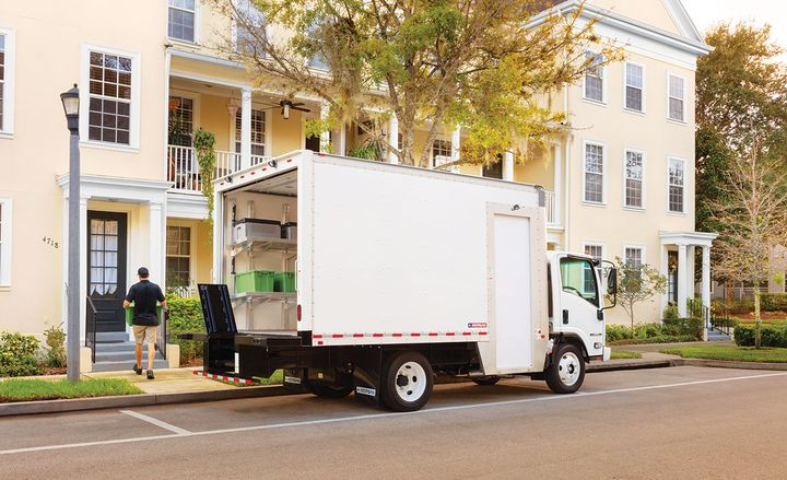 Morgan Truck Bodies' Maximizer offers options such as a step well and automatic roll-up doors to make final-mile drivers' lives easier. - Photo: Morgan Truck Bodies